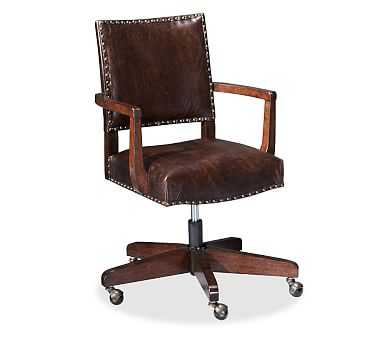 Manchester Swivel Desk Chair, Espresso stain Frame with Espresso Leather Upholstery - Pottery Barn
