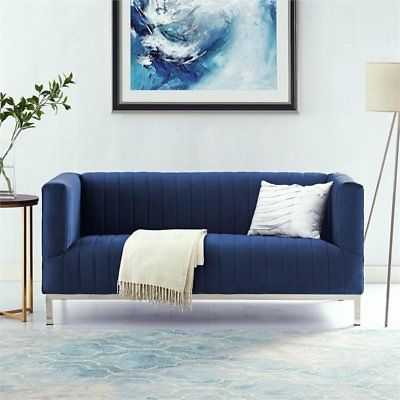 Hayden Navy Velvet Tuxedo Loveseat - Chrome Y-Legs - Stainless Steel - eBay