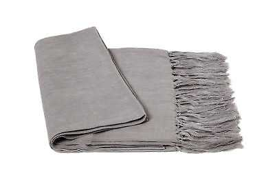 Cashmere Collection Solid Linen Throw Blanket: Gray - eBay