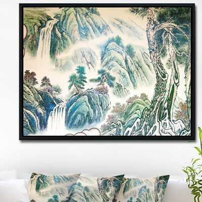 'Blue Chinese Landscape Painting' Framed Graphic Art Print on Wrapped Canvas - Wayfair