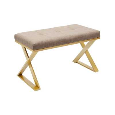 Tatum Gold Upholstered Rectangular Vanity Bench, Gold/Grey - Home Depot