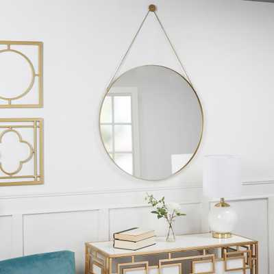 Marlaina Round Gold Hanging Chain Wall Mirror - Home Depot