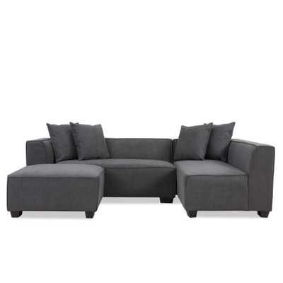 Phoenix Sectional Sofa with Ottoman in Dark Gray Plush Low-Pile Velvet - Home Depot