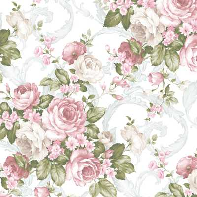 Grand Floral Wallpaper, Dark Pink/Light Pink/Green/Light Turquoise - Home Depot