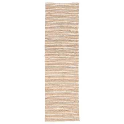 "Cornwall Natural Stripe Beige/ Blue Runner Rug (2'6"" X 9') - Collective Weavers"