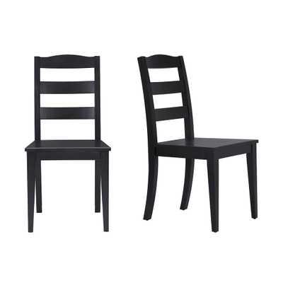 StyleWell Black Wood Dining Chair with Ladder Back (Set of 2) (17.72 in. W x 36.77 in. H) - Home Depot