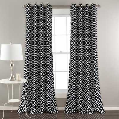"Lush Decor Diamond Geo Window Panels Black 84"" x 52"" 2-Pc Set 100% Polyester - Home Depot"