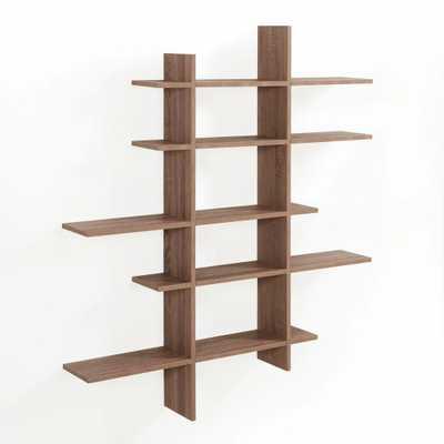Weathered Oak MDF 5-Level Asymmetric Floating Shelf, Beige - Home Depot