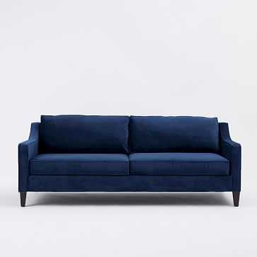 "Paidge 86.5"" Grand Sofa, Poly, Performance Velvet, Ink Blue, Cone Chocolate - West Elm"