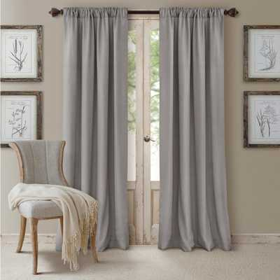 Elrene Blackout Cachet 52 in. W x 108 in. L Blackout Window Curtain Panel Silver - Home Depot