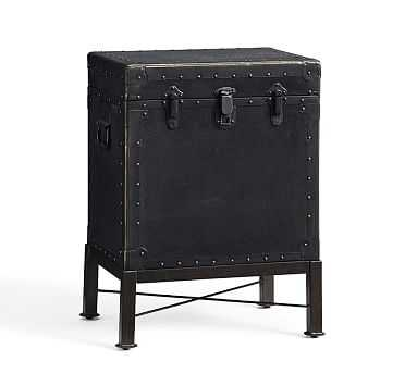 Ludlow Trunk with Stand Side Table, Black - Pottery Barn