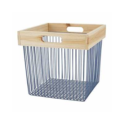 Wood and Wire Blue Cube Bin - Crate and Barrel