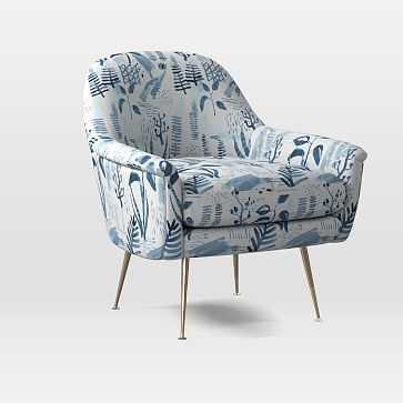 Phoebe Midcentury Chair, Poly, Scandi Garden, Midnight, Brass - West Elm