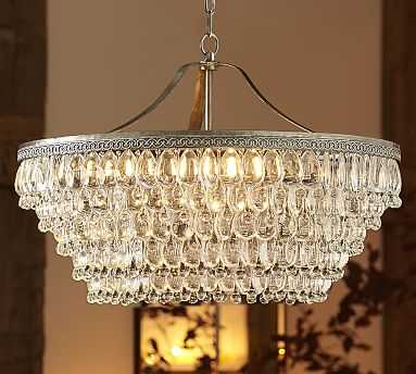 "Clarissa Crystal Drop Round Chandelier, Large (28"" Diameter) - Pottery Barn"