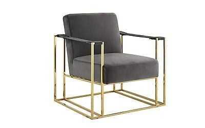 Classic Elegant Living Room Velvet Armchair, Accent Chair with Gold Frame, Grey - eBay