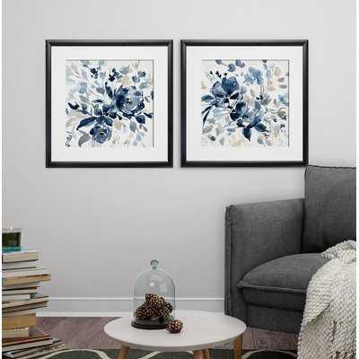 'Indigo Garden I' 2 Piece Framed Print Set, black framed - Wayfair