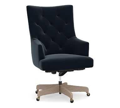 Radcliffe Desk Chair Gray Wash Base, Performance Plush Velvet Navy - Pottery Barn