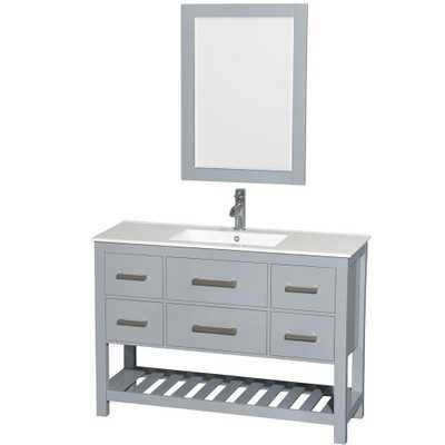 Wyndham Collection Natalie 48 in. W x 18.5 in. D Vanity in Gray with Porcelain Vanity Top in White with White Basin and 24 in. Mirror - Home Depot