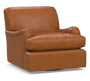 Carlisle Leather Swivel Armchair, Polyester Wrapped Cushions, Signature Maple - Pottery Barn