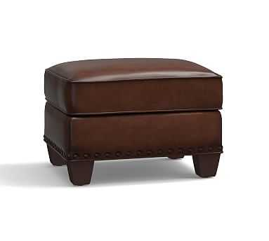 Irving Leather Storage Ottoman, Bronze Nailheads, Polyester Wrapped Cushions, Leather Burnished Saddle - Pottery Barn