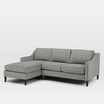 Paidge Set 2- Right Loveseat, Left Chaise, Down, Chenille Tweed, Feather Gray, Cone Chocolate - West Elm