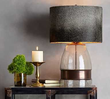 Bailey Mouth-Blown Glass & Metal Table Lamp, Antique Brass finish - Pottery Barn