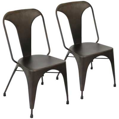 Austin Antique Metal Dining Chair (Set of 2) - Home Depot