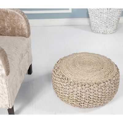 "LR Home Criss Knit Hemp Natural Braided Jute Pouf Ottoman (10"" x 20"") - eBay"