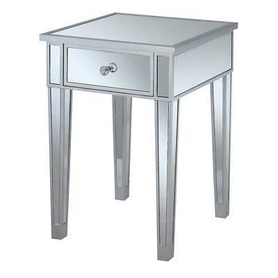 Convenience Concepts Gold Coast End Table w/Drawer, Silver/Mirror - 413345SS - eBay