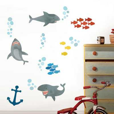 Multi-Color Shark Attack Wall Decal - Home Depot