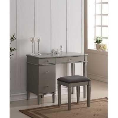 Linon Alexandria Bedroom Vanity Set in Silver - eBay