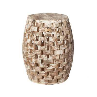 Patio Sense Maya Oval Wood Outdoor Garden Stool - Home Depot