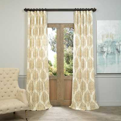 "Exclusive Fabrics Arabesque Printed Cotton Twill Curtain: Gold 108"" - 108 Inches - arabesque tan - eBay"