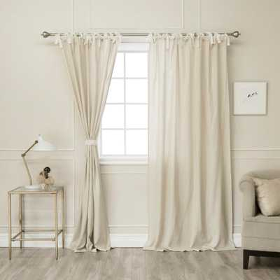 Best Home Fashion Natural 96 in L. Abelia Belgian Flax Linen Lace Tie Top Curtain Panel - Home Depot