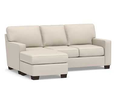 Buchanan Square Arm Upholstered Sofa with Reversible Chaise Sectional, Polyester Wrapped Cushions, Performance Brushed Basketweave Oatmeal - Pottery Barn