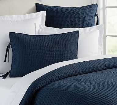 Pick-Stitch Handcrafted Quilt, Twin, Midnight Blue - Pottery Barn