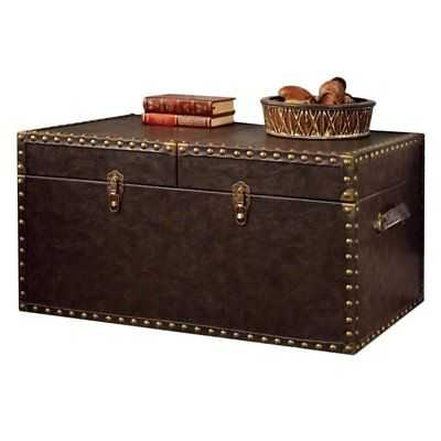 Furniture of America Lange Trunk Coffee Table in Antique Brown - eBay