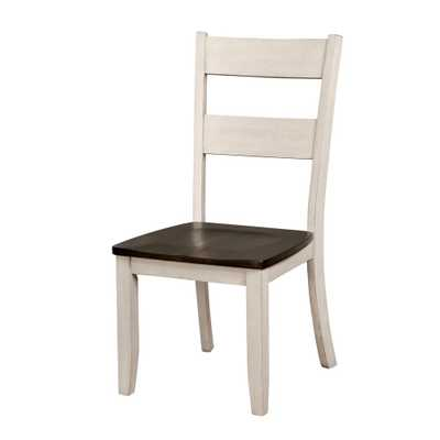 Chelsea Antique White Wood Ladder Side Chair (Set of 2), Antique White/Dark Gray - Home Depot