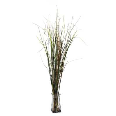 Nearly Natural 46 in. H Green Grass and Bamboo with Glass Vase Silk Plant - Home Depot