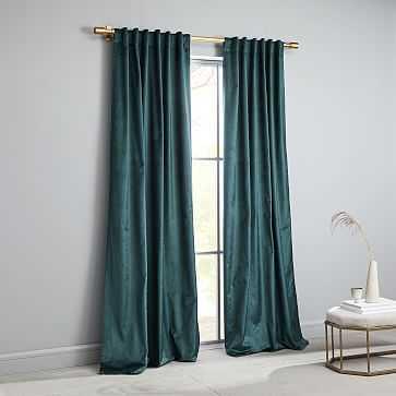 """Cotton Luster Velvet Curtain, Green Gables, 48""""x84"""" - West Elm"""