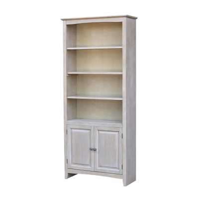 Weathered Gray Shaker Bookcase with Doors - Home Depot