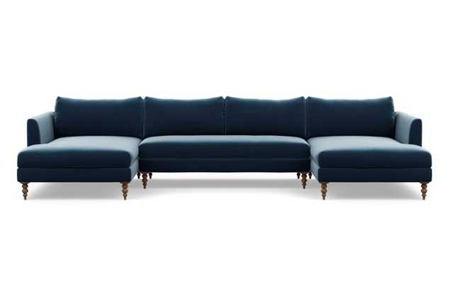 Owens U-Sectional with Sapphire Fabric and Oiled Walnut legs - Interior Define