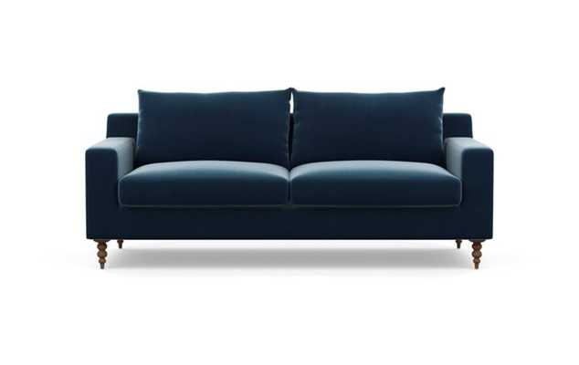 Sloan Sofa with Sapphire Fabric and Oiled Walnut legs - Interior Define
