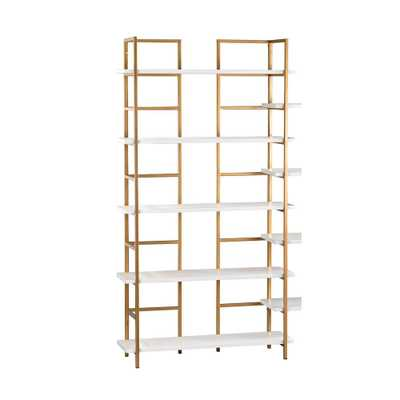 5-Shelf White and Gold Shelving Unit, Gloss White/Gold - Home Depot