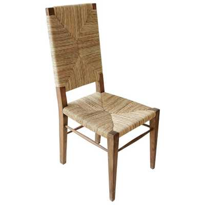 Nantucket Coastal Beach Seagrass Teak Dining Chair - Kathy Kuo Home