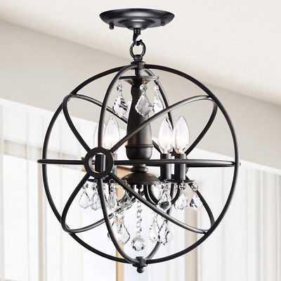 Benita Antique Black 4-light Iron Orb Flush Mount Crystal Chandelier - eBay