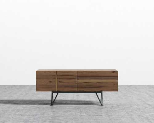 "Bennett Media Console - 55"" - Walnut Veneer Black Leg - Rove Concepts"