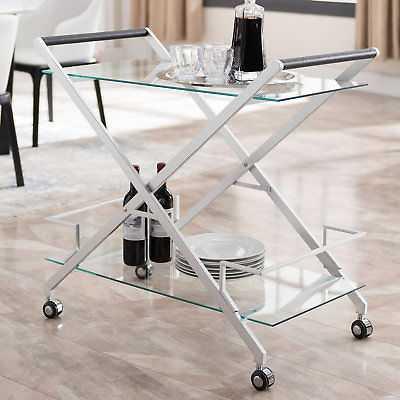 Orren Ellis Carlos Bar Cart: Silver - eBay