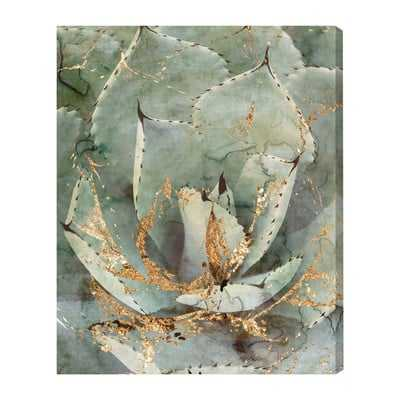 'Golden Succulent' Graphic Art on Wrapped Canvas - Wayfair
