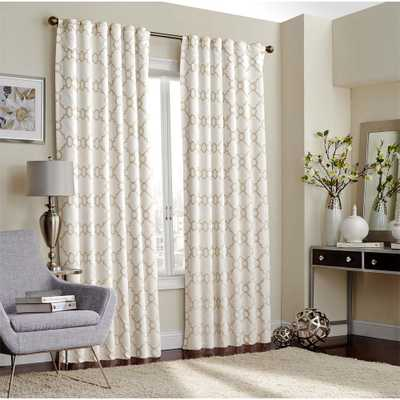 Eclipse Correll 108 in. L Polyester Rod Pocket Curtain in Ivory (1-Pack) - Home Depot